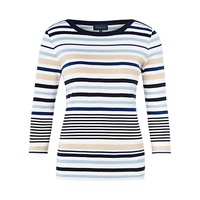 Viyella Tipped Striped Jersey Top Navy