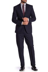 Vince Camuto Plaid Slim Fit Wool 2 Piece Suit Navy Plaid