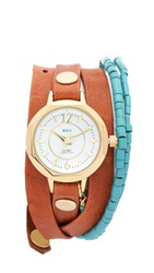 La Mer New Mexico Wrap Watch Gold Brown Turquoise