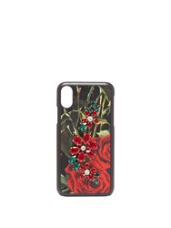 Dolce And Gabbana Crystal Embellished Rose Print Iphone X Case Black Red