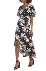 Mimi Chica Ruffle Sleeve Floral Maxi Dress Black Floral