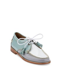 G.H. Bass Winnie Patent Leather Oxfords Light Blue Grey