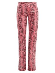 Msgm Python Effect Patent Trousers Pink