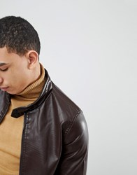 Soul Star Punched Faux Leather Zip Through Jacket Brown
