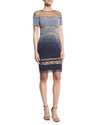Pamella Roland Short Sleeve Signature Ombre Sequin Dress Light Blue Navy Light Blue Navy B