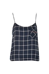 Topshop Navy Window Pane Check Pyjama Camisole Navy Blue