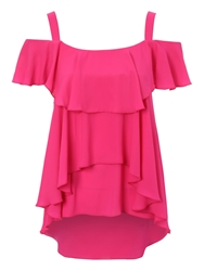 Jane Norman Ruffle Off The Shoulder Top Pink
