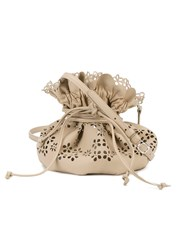 Simone Rocha Perforated Drawstring Bag Nude And Neutrals