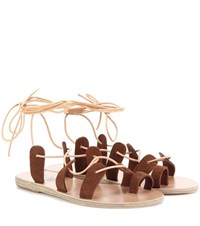 Ancient Greek Sandals Alcyone Suede Sandals Brown
