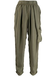 Raquel Allegra High Rise Cargo Trousers Green