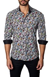 Jared Lang Men's Trim Fit Print Sport Shirt White Black Flower Print