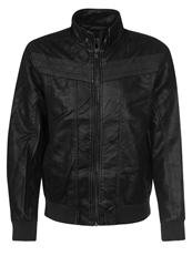 Urban Classics Faux Leather Jacket Black