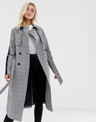 Superdry Check Detail Trench Coat Grey