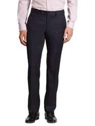 Saks Fifth Avenue Regular Fit Basic Ford Wool Pants Navy