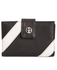Giani Bernini Stripe Leather Wallet Only At Macy's Black White