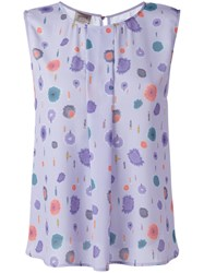 Armani Collezioni Printed Sleeveless Blouse Pink Purple
