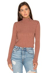Project Social T Bardot Button Neck Sweater Rust