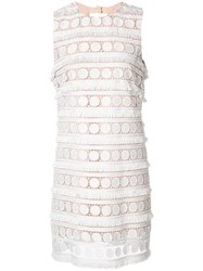 Nicole Miller Broderie Anglaise Shift Dress White