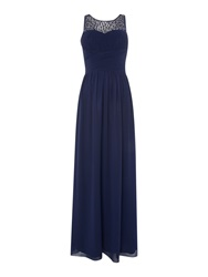 Little Mistress Beaded Top Maxi Dress Navy