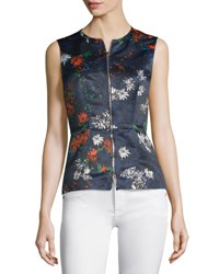 Cedric Charlier Sleeveless Floral Print Zip Front Top Fantasia Blue