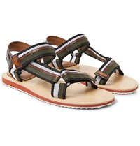 Berluti Diego Striped Webbing And Polished Leather Sandals Army Green
