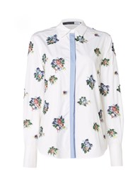 Sportmax Code Longsleeve Shirt With Embroidered Floral Pattern Optical White