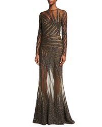 Elie Saab Long Sleeve Palm Embroidered Gown Black