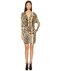 Just Cavalli Long Sleeve V Neck Mixed Animal Print Jersey Dress Natural Women's Dress Beige