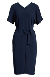 Bobeau Stretch Crepe Dress Navy