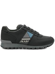 Prada Side Logo Lace Up Sneakers Black