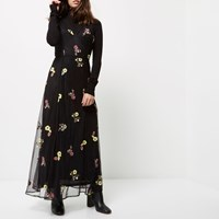 River Island Womens Petite Black Embroidered Maxi Dress