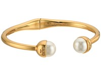 Tory Burch Logo Crystal Pearl Hinged Bracelet Ivory Shiny Gold