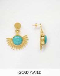 Ottoman Hands Ottomans Hands Turquoise Stone Statement Earrings Turquoise Gold