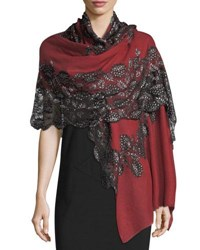 Bindya Pumice Lace Overlay Evening Stole Wrap Red Black