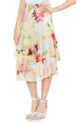 Vince Camuto Faded Blooms Tiered Ruffle Skirt Lemon Cream