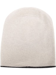 Brunello Cucinelli Contrasting Trim Slouchy Beanie Hat Nude And Neutrals