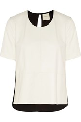 Mason By Michelle Mason Leather And Crepe Top White