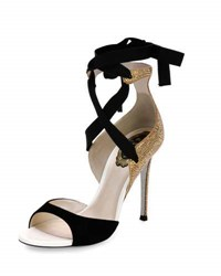 Rene Caovilla Crystal Lace Up 105Mm Sandal Black Yellow