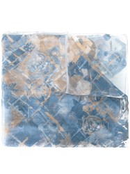 Chanel Vintage Rose Print Scarf Blue