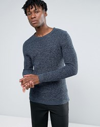 Selected Homme 100 Cotton Crew Neck Texture Knitted Jumper Dark Saphire Navy