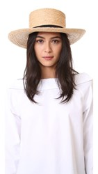 Hat Attack Raffia Braid Boater Natural Black