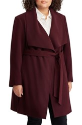 Lauren Ralph Lauren Plus Size Wrap Coat Merlot