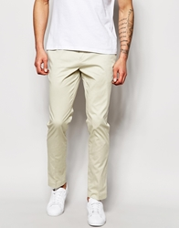 Solid Tailored And Originals Formal Chinos In Skinny Fit Stone