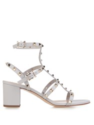 Valentino Rockstud Leather Sandals Light Grey