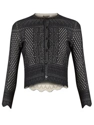 Alexander Mcqueen Lace Jacquard Cropped Cardigan Black
