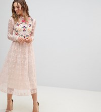 Frock And Frill Premium Embroidered Lace Prom Skater Dress Nude Multi Pink