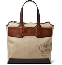 Berluti Aire Leather Trimmed Printed Canvas Tote Bag Beige