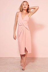 Keepsake Without You Asymmetric Surplice Midi Dress Rose