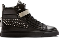 Giuseppe Zanotti Black Studded Leather London High Top Sneakers