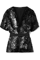 Narciso Rodriguez Belted Sequined Silk Blouse Black